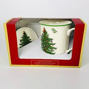 Spode Mug and Coaster Set Christmas Tree #N-10